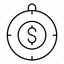 ball, compass, dollar, navigation icon