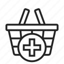 add, basket, shopping icon