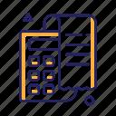 bill, calculation, calculator, check icon
