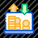 bank, coin, internet, laptop icon icon