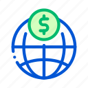 coin, payment, transfer, world icon icon