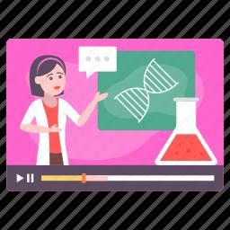 teaching, chemistry, genetics, dna class, video tutorial, video training, female teacher