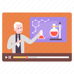 male professor, giving, lecture, chemistry, science, learning, video lecture