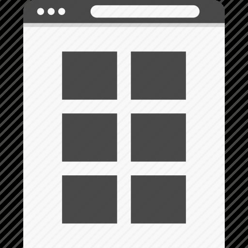 blog, gallery, grid, photos, website, wireframes icon