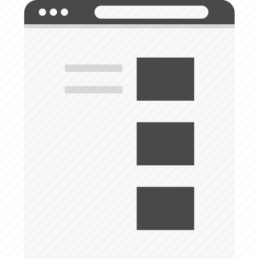 blog, grid, post, single, website, wireframes icon