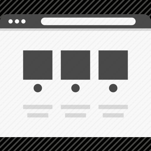 columns, post, website, wireframes icon