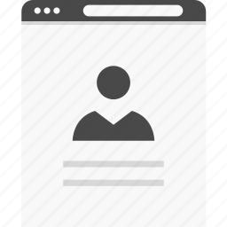 avatar, information, person, profile, user, website, wireframes icon