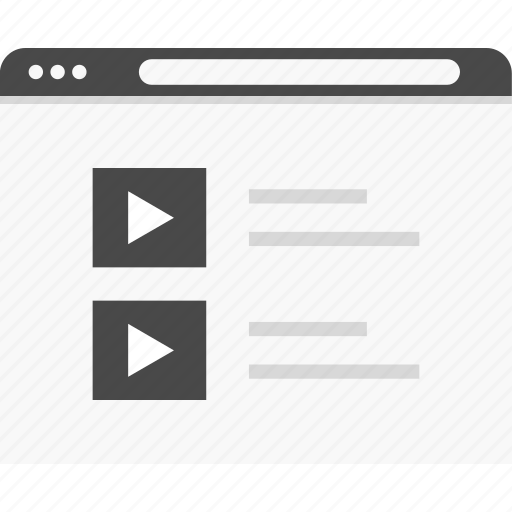list, play, video, website, wireframes, youtube icon
