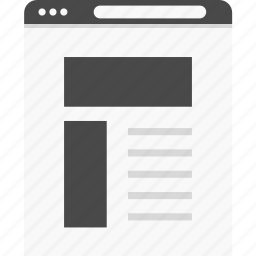 aside, blog, layout, web, website, wireframes icon