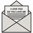 envelope, i love you, letter, love, mail, message, open letters icon