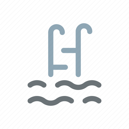 ladder, pool, summer, swimming, water icon
