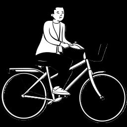 peep, sitting, cycling, bike, person