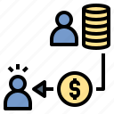 borrower, coin, creditor, loan, money, pay, payment icon