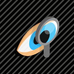 exam, eye, human, isometric, look, view, vision icon