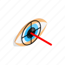 check, eye, human, isometric, look, pupil, vision icon