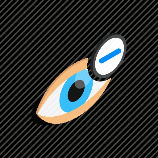 eyeball, human, isometric, look, myopia, view, vision icon