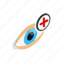 eyeball, farsightedness, human, isometric, look, view, vision icon