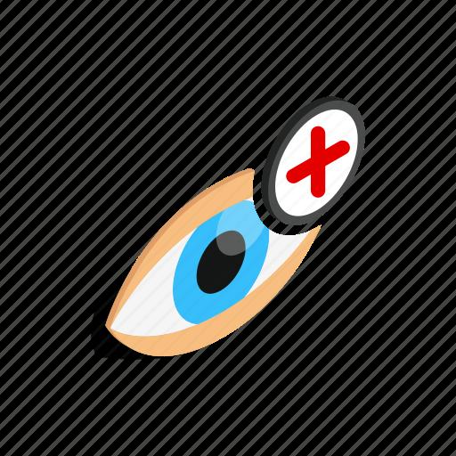 eyeball, farsightedness, human, isometric, look, view, vision icon
