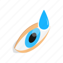 drops, eye, human, isometric, look, treatment, vision icon