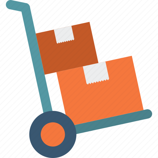 boxes, cart, commerce, logistics, packages, transport, trolley icon