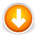 arrow, circle, down, download, freccia, orange icon