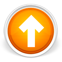 arrow, orange, orb, up icon