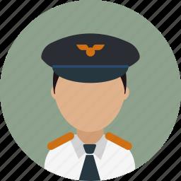 airplane, avatar, captain, flying, pilot, work icon