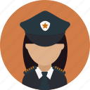 avatar, captain, crime, female, officer, person, police icon