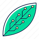 biotechnology, engineering, green, leaf, microchip, nanotechnology, science icon