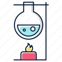 chemical, experiment, flask, heating, laboratory, reaction, research icon