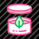 container, cream, leaf icon