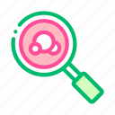 bacteria, magnifier, microbe icon