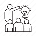 idea, leadership, light bulb, presentation, solution icon