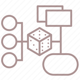d6, dice, mind map, roleplay, rpg, scheme icon