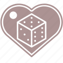 d6, dice, hearth, love, roleplay, rpg icon