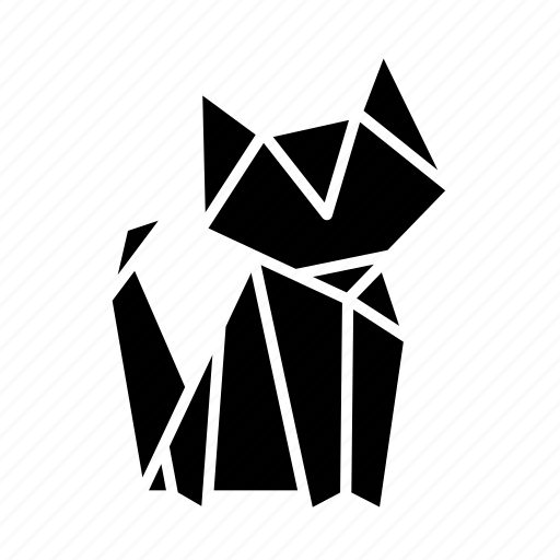 animal, cat, folded, origami, paper, toy icon
