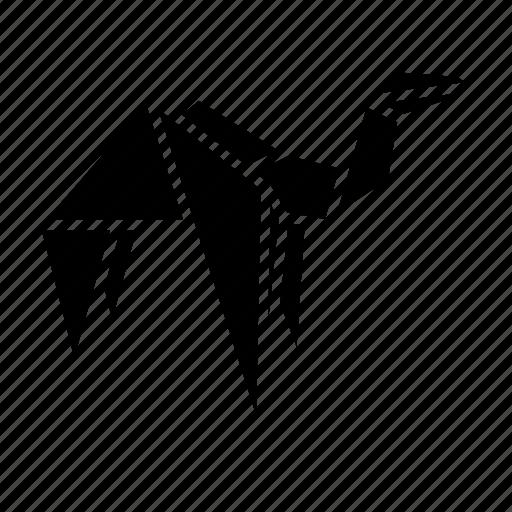 animal, camel, folded, origami, paper, toy icon