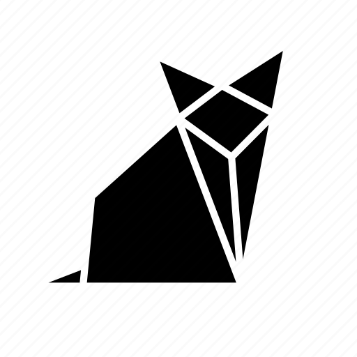 animal, folded, fox, origami, paper, toy icon