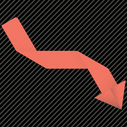 arrow, bad, business, chart, descending, down, enhance, failure, graph, rate, statistics icon