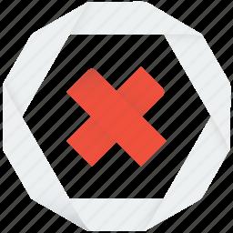 broken, closed, cross, delete, deny, error, failed, forbidden, locked, no, not, remove, stop, x icon