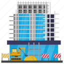 building maintenance, building repair, commercial building, commercial construction, scaffolding icon