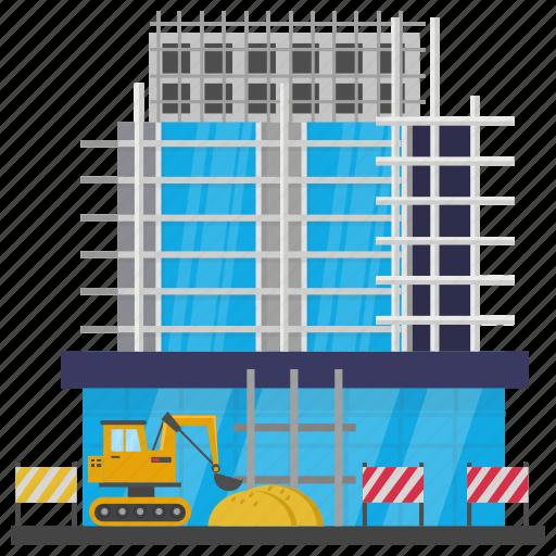 building maintenance, building repair, commercial building, commercial construction, scaffolding icon