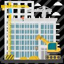 building maintenance, building repair, commercial construction, construction site, scaffolding, steel icon