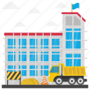 building maintenance, building repair, commercial construction, construction site, scaffolding icon