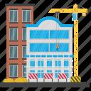 building maintenance, building repair, commercial construction, construction site, scaffolding icon