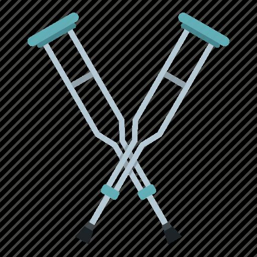 crutch, crutches, health, help, medical, support, walk icon