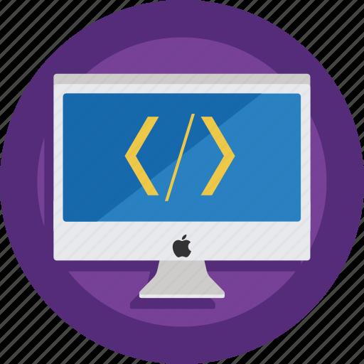 code, computer, css, developer, device, html, imac icon