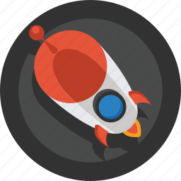 fly, planet, rocket, space, stars, transport, travel icon
