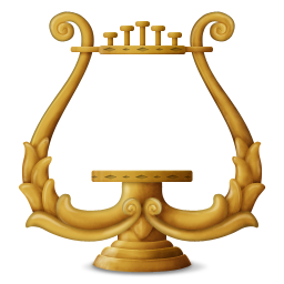 instrument, lyre, music icon
