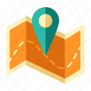 adventure, adventure trail, location, map, navigation, paper, pin icon